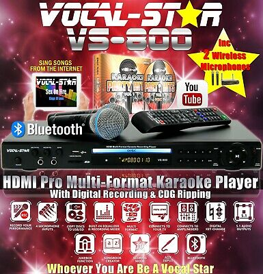 Vocal-Star Vs-800 Hdmi Cdg Dvd Karaoke Machine 2 Vhf Wireless Mics & 380 Songs