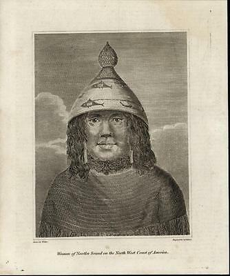 Woman of Nootka Sound on the N. W. Coast c.1820 antique engraved print portrait
