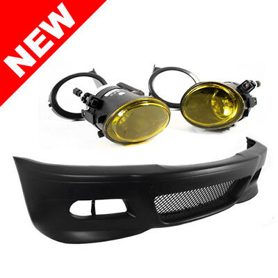 99-06 BMW E46 3-SERIES M3 STYLE FRONT BUMPER W/ YELLOW ECODE FOG LIGHTS + COVERS