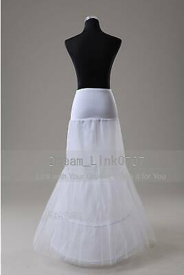 White 2 Hoop Fishtail Mermaid Skirt Wedding Bridal Crinoline Petticoat Slip