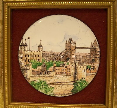 FRAMED MINIATURE LONDON ENGLAND PICTURE PLAQUE