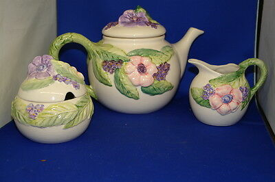 Vintage Decorated Art Pottery Fitz & Floyd Floral Oversized Teapot Cream & Sugar