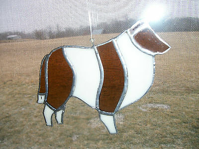 "Stained Glass ~Collie~Shetland Sheepdog~ Beautiful  6"" x 5"""