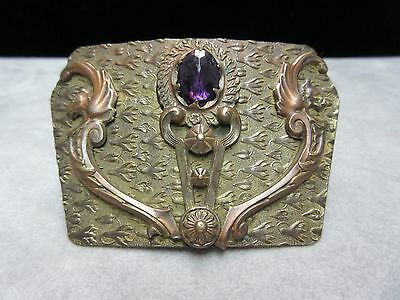 Stunning Antique Victorian Brass GRIFFIN  Amethyst Large Brooch Pin