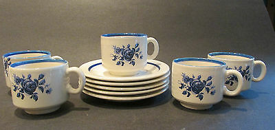 Pagnossin Treviso Italy Demi Cups & Saucers Blue and White ROSES Set of 5