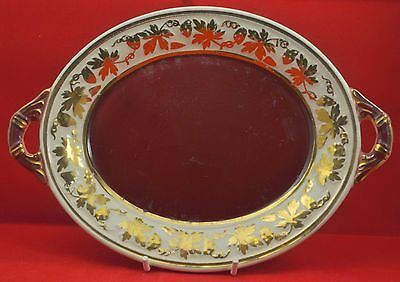 "Wade hand painted ""Rubytone"" two handled burgundy & gilt  chocolate tray"