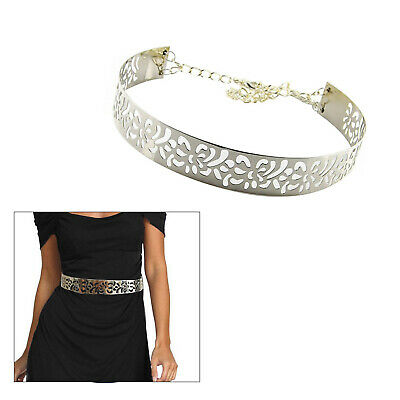Womens Gold Or Silver Plate Metal Mirror Waist Belt Metallic Obi Band With Chain