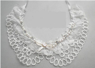 Cotton Collars Diamante Necklace Lace in Ivory Vintage Style - UK - Style No: 3