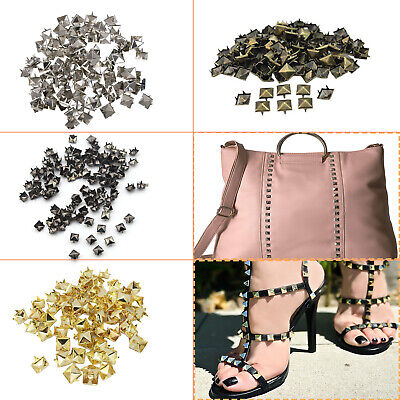 50/100pcs Square Metal Pyramid Studs for Clothing Shoes Bags Purses Decoration