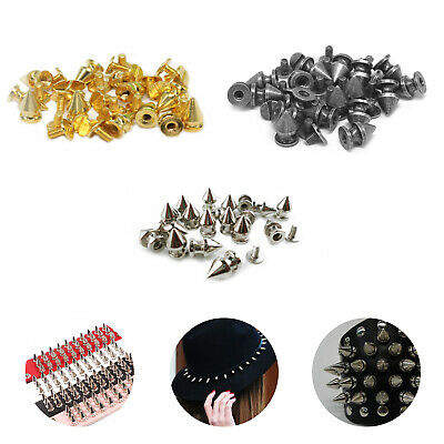 7mm x 9.5mm Spike Cone Punk Studs Rivets Screw Back For Dresse Jeans Bags Jacket