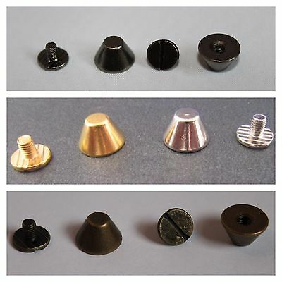 100 x Bucket Mushroom Cone Punk Spike Screw Back Studs/Rivets BRASS - UK SELLER