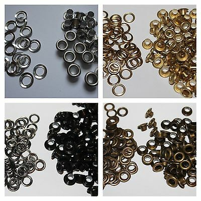 100 x 4.2mm Eyelets with Washers Choice Pack Set Craft Clothing Various Colours
