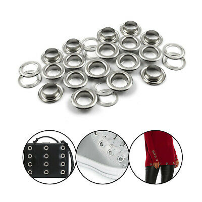 100 Silver Eyelets & Washers Grommets Banners Craft in Various Sizes 9mm - 16mm