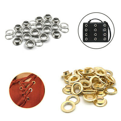 100 Large Silver or Gold Eyelets in either 9mm, 10mm, 11mm, 12mm or 15mm