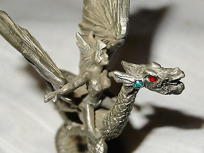 Vintage Small Pewter Dragon with Sexy Female Rider Fgurine Gemstone Eyes 3""