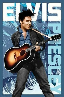 ELVIS PRESLEY - BLUE PORTRAIT POSTER - 24x36 SHRINK WRAPPED GUITAR MUSIC 241121
