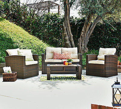 4pcs Outdoor Wicker Patio Furniture Sofa Chair Set Dining Coffee Table