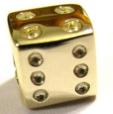 KAEDESIGNS, GENUINE 9ct Yellow or Rose or White Gold or Silver DICE BEAD CHARM