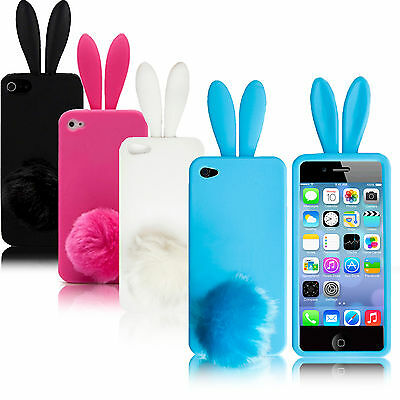 Cute Bunny Rabbit Soft Case Cover Skin For iPhone 5 5G + Screen Protector