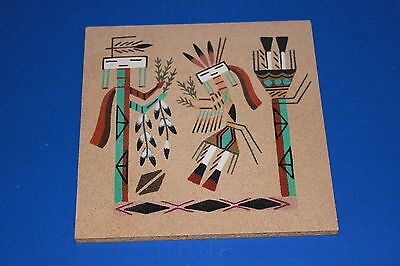 Vintage Native American Sand Art Picture Female Yei With