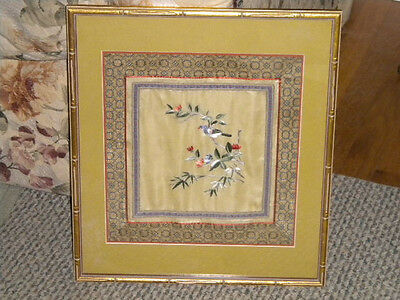 Vintage Embroidered Chinese Silk Brocade Mat Panel Table Framed Picture of Bird