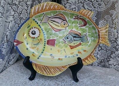 "LARGE 16"" FISH Serving Platter Plate hand painted Majolica SOLIMENE VIETRI ITALY"