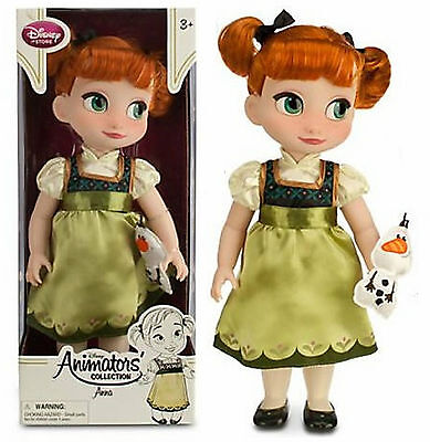 """Disney Store Animators Collection Anna Doll w/ Plush Olaf 16"""" Frozen Toddler NEW"""