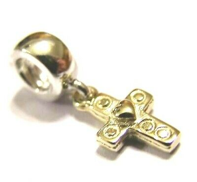 Genuine 9ct Yellow or Rose or White Gold or Silver Cross bead for charm bracelet