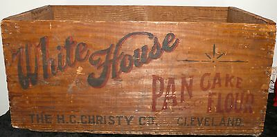 Antique Store Advertising White House Pancake Flour Crate Box Wooden Graphics