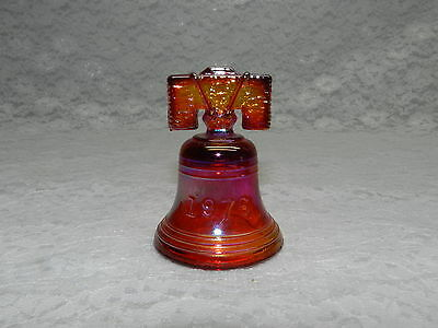 JOE ST CLAIR Glass Liberty Bell - Red Iridescent - Estate Find