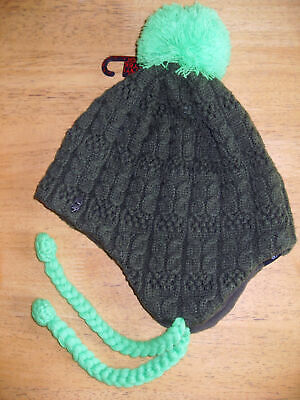 Ignite Hercules Peru Earflap Beanie Bobble Hat BNWT Cream One size