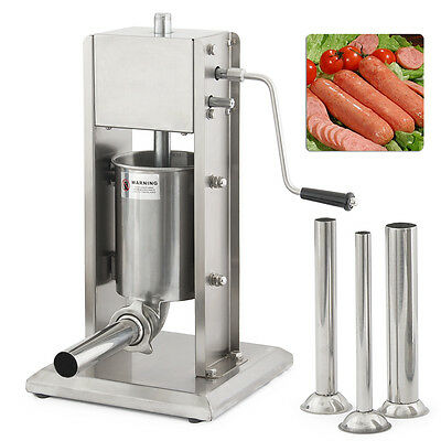 3L Stainless Steel 8LB Commercial Restaurant Sausage Stuffer Press Dual Speed