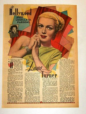 11/1/1947 - LANA TURNER - In Hollywood - Louella Parsons (framable)