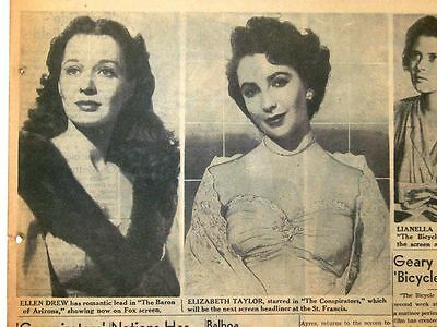 """3/19/1950 - Movie Page Pictures w/ ELIZABETH TAYLOR in """"The Conspirators"""""""