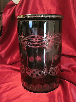 Vintage Bohemian Art Glass Ruby Red Crystal Cut to Clear Covered Jar Biscuit Jar