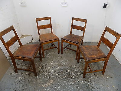 4 chairs,dining room,leather,seats,four,vintage,1930's,oak,dining,chairs