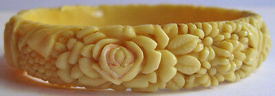 Vintage Celluloid Creamy Ivory Color Roses Daisies Bangle Bracelet