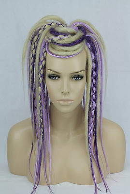 Blonde & Purple Dread Falls, Hair Pieces, 20 Inches, Synthetic, Unisex.