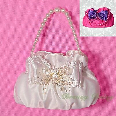 Kid Satin Pearl Handbag Tote Bag Wedding Flowergirl Communion Occasion Party 033