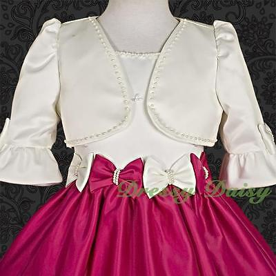 Pearls Satin Bolero Jackets For Wedding Flower Girl Party Formal Dress 2-12 #001