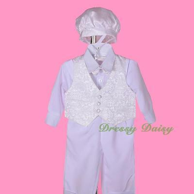 5Pc Set Baby Boy Baptism Christening Outfit Formal Suit Bonnet Size 00 0 1 2 007