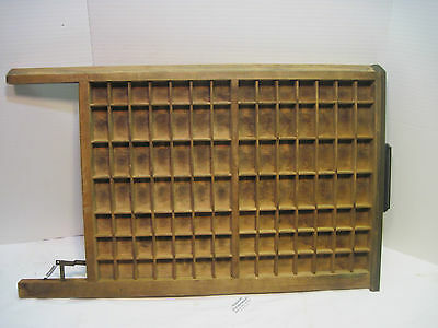 Vintage  Wood Printer's Type Letterpress Tray Shadow Box With Handle