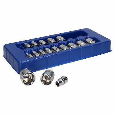 """3/8"""" drive sockets metric shallow 8mm - 24mm 17pc set by BERGEN AT099"""
