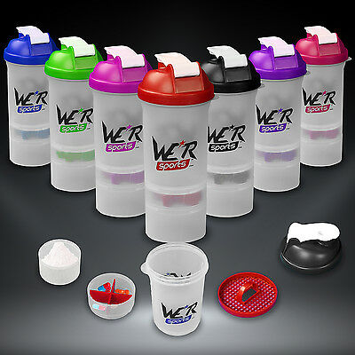 Shaker Bottle Protein Shaker Cup With Protein Creatine Compartment & Mixer 500ml