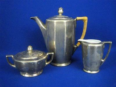 Antique WMF Germany Art Nouveau Silver Plated Porcelain Lined 3pc Coffee Set