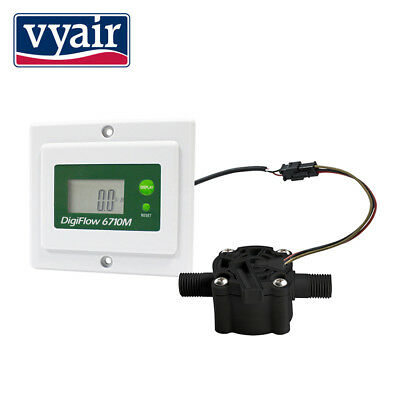 Digital Flow Meter 0.6-8.0 Litres Min & volume too, Panel Mount battery/mains