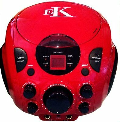 Easy Karaoke EKG77 Beatbox Portable CD Graphics Player Machine With Mic - Red