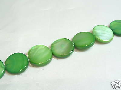15 x 11.5mm Natural Dyed Shell Disc Beads: 06 Apple