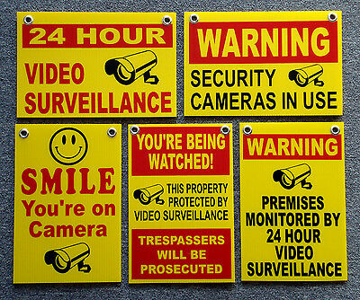(5)  24 HOUR VIDEO SURVEILLANCE SMILE YOU'RE ON CAMERA SECURITY SIGNS 8x12   NEW