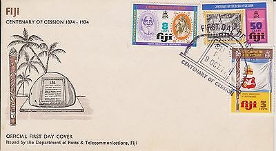 (LD23) 1974 Fiji FDC 3stamps centenary of cession